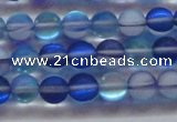 CMS1586 15.5 inches 6mm round matte synthetic moonstone beads