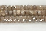 CMS1666 15.5 inches 6*13mm - 8*14mm faceted tyre moonstone beads