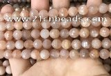 CMS1679 15.5 inches 8mm faceted round moonstone beads wholesale