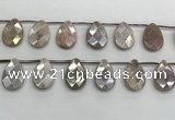 CMS1840 18*25mm faceted flat teardrop AB-color moonstone beads