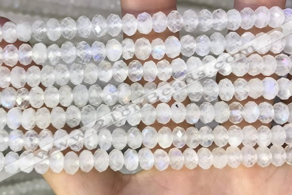 CMS1867 15.5 inches 4*6mm faceted rondelle white moonstone beads