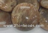 CMS25 15.5 inches 30mm flat round moonstone gemstone beads wholesale