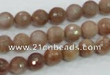 CMS59 15.5 inches 8mm faceted round moonstone gemstone beads