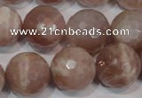 CMS769 15.5 inches 18mm faceted round natural moonstone beads