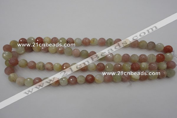 CMS880 15.5 inches 10mm faceted round moonstone gemstone beads