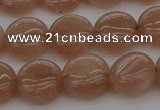 CMS956 15.5 inches 8mm flat round A grade moonstone beads