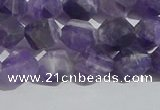 CNA1077 15.5 inches 8mm faceted nuggets matte dogtooth amethyst beads