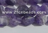 CNA1078 15.5 inches 10mm faceted nuggets matte dogtooth amethyst beads