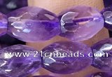 CNA1101 15.5 inches 7*10mm faceted rice amethyst gemstone beads
