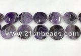 CNA1212 15.5 inches 40mm faceted coin amethyst gemstone beads
