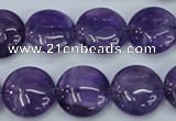 CNA270 15.5 inches 16mm flat round natural amethyst beads wholesale