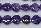 CNA283 15.5 inches 14*14mm heart natural amethyst beads wholesale