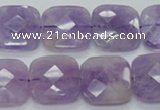 CNA341 15.5 inches 20*20mm faceted square natural lavender amethyst beads