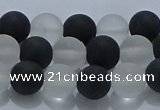 CNC112 15.5 inches 8mm round matte white crystal & black agate beads
