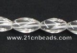 CNC20 8*18mm twisted rice grade AB natural white crystal beads