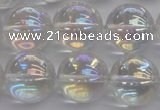 CNC205 15.5 inches 14mm round AB-color white crystal beads