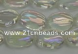 CNC216 15.5 inches 10*14mm oval AB-color white crystal beads