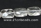 CNC25 13*18mm faceted rectangle grade AB natural white crystal beads