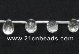 CNC31 8*12mm faceted teardrop grade AB natural white crystal beads