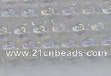 CNC561 15.5 inches 6mm round plated crackle white crystal beads