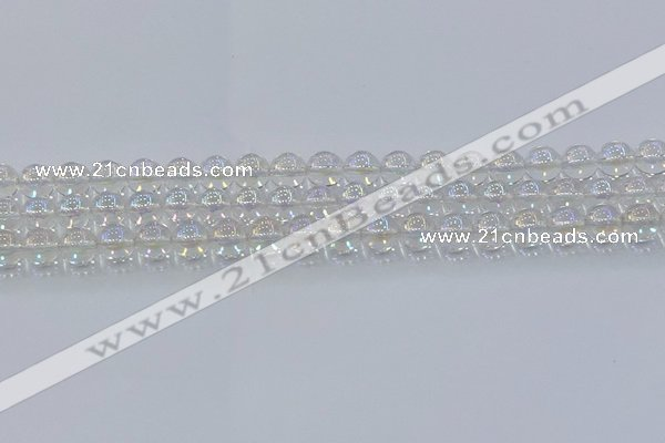 CNC571 15.5 inches 8mm round plated natural white crystal beads