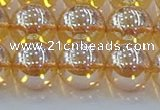 CNC580 15.5 inches 14mm round plated natural white crystal beads