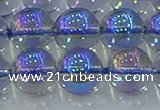 CNC592 15.5 inches 14mm round plated natural white crystal beads