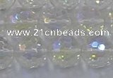 CNC605 15.5 inches 14mm faceted round plated natural white crystal beads