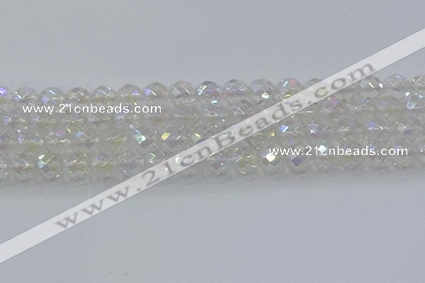 CNC612 15.5 inches 14mm faceted round plated natural white crystal beads
