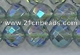 CNC631 15.5 inches 14mm faceted round plated natural white crystal beads