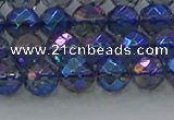 CNC633 15.5 inches 6mm faceted round plated natural white crystal beads