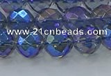 CNC635 15.5 inches 10mm faceted round plated natural white crystal beads