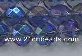 CNC636 15.5 inches 12mm faceted round plated natural white crystal beads