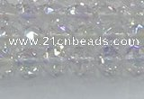 CNC645 15.5 inches 6mm faceted round plated natural white crystal beads