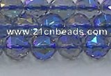CNC665 15.5 inches 10mm faceted round plated natural white crystal beads