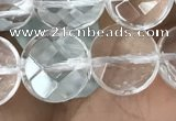CNC745 15.5 inches 10mm faceted coin white crystal beads