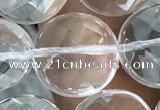 CNC750 15.5 inches 20mm faceted coin white crystal beads