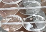 CNC763 15.5 inches 10*14mm faceted oval white crystal beads