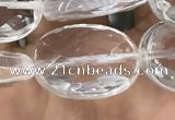 CNC765 15.5 inches 13*18mm faceted oval white crystal beads