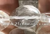 CNC820 15.5 inches 13*18mm twisted & faceted oval white crystal beads