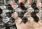 CNC825 15.5 inches 14*14mm diamond white crystal & smoky quartz beads