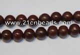 CNE09 15.5 inches 8mm round red stone needle beads wholesale