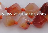 CNG1065 15.5 inches 12*16mm - 15*20mm faceted bicone red agate beads