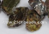 CNG1430 Top drilled 20*25mm - 30*40mm freeform green garnet beads
