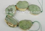 CNG1500 8 inches 30*35mm - 35*45mm freeform agate beads with brass setting