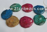 CNG1555 15.5 inches 50*52mm faceted freeform agate beads