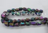 CNG1799 13*18mm - 15*20mm faceted nuggets plated quartz beads