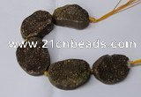 CNG2172 7.5 inches 25*35mm - 35*40mm freeform druzy agate beads