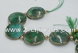 CNG2192 7.5 inches 30mm flat round agate beads with brass setting