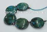 CNG2194 7.5 inches 35mm flat round agate beads with brass setting